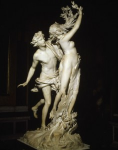 2-M120-D6-1622-1 G.L.Bernini, Apollo und Daphne Bernini, Gian Lorenzo 1598-1680. 'Apollo und Daphne'. (Die von Apollo verfolgte Nymphe wird in einen Lorbeerbaum verwandelt, - Ovid, Metamorphosen I, 452-567). Marmor, Hoehe 243 cm. Rom, Galleria Borghese. E: G.L.Bernini, Apollo and Daphne Bernini, Gian Lorenzo 1598-1680. 'Apollo and Daphne'. (The nymph Daphne is chased by Apollo and is transformed into a laureltree/ Ovid, Metamorphoses I, 452-567). Marble, height 243cm. Rome, Galleria Borghese. F: G. L. Bernini / Apollon et Daphne Bernini, Gian Lorenzo , 1598-1680. - 'Apollon et Daphne'. - (La nymphe poursuivit par Apollon se change en laurier , - Ovide, Metamorpho- ses I, 452-567). Marbre. H. 2,43. Rome, Galleria Borghese.